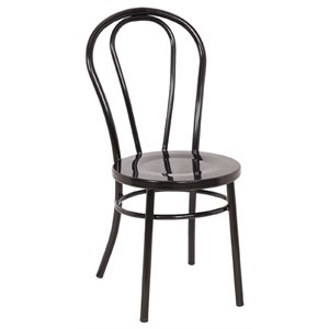 2 x heavy duty steel bentwood style black side chairs pack of 2