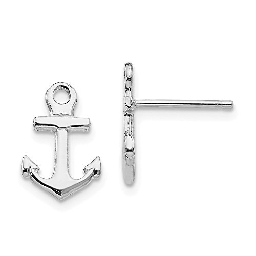 14k White Gold Nautical Anchor Ship Wheel Mariners Post Stud Earrings Ball Button Fine Jewelry Gifts For Women For Her