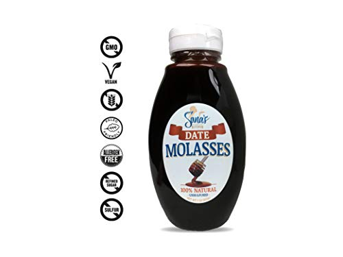 UNSULFURED NECTAR, 100% Pure DATE Molasses, Nut-Free, Vegan, Paleo, Gluten-Free, NO refined Sugars, BPA Free Jar, All Natural