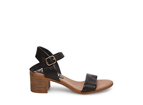 Steve Madden Women's April Heeled Sandal, Black Leather, 8 M US