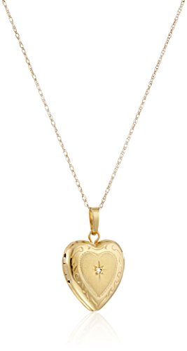 14k Yellow Gold Heart Locket with Diamond-Accent Pendant Necklace (Sentiment Heart Lockets Gold)