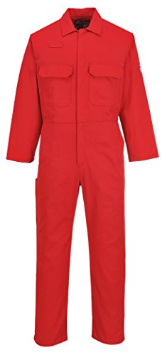 Portwest UBIZ1 Bizweld Dual Hazard Flame Resistant Protective Coverall ASTM NFPA, Red, Medium