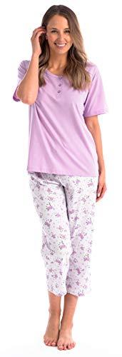 (Pink Lady Ladies Capri PJ Bottoms and Cap Sleeve Pajama Loungewear Set (Violet Henley, Large))