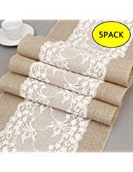 BullStar 12'' x 108'' Burlap Table Runner with Lace Natural Jute Hessian able Runners for Wedding Party Bridal Shower Babe Shower Dining Table Decoration (B, 5pack) by BullStar