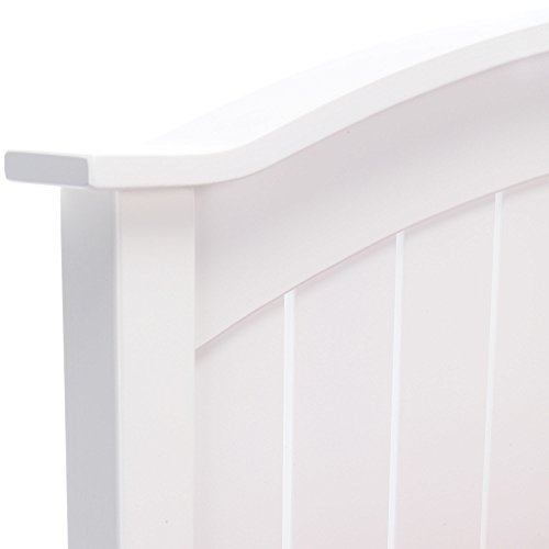 Fashion Bed Group Finley Wood Headboard Panel with Curved Top Rail and Slatted Grill Design, White Finish, Full / Queen