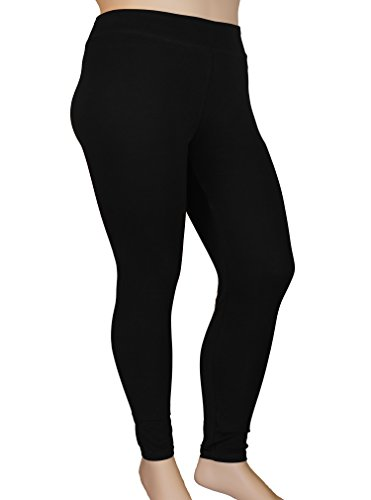 Stylzoo Plus Size Women's Cotton Ankle High Comfort Stretch Leggings Yoga Stretch Pants Black 2X (Yoga Womens Cotton Pant Stretch)