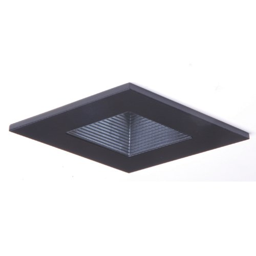 HALO Recessed 3012BKBB 3-Inch 15-Degree Trim Lensed Square Shower Light with Baffle, ()