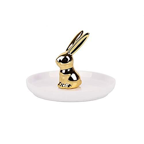 Jitejoe Grasslands Roads Ceramics Good Luck Rabbit Jewelry Ring Holder, White/Gold, Size, 5