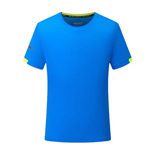 Men's Quick Dry Short Sve T-Shirt Running Fitness Shirts Summer Sport Fast-Dry Breathable Top Tee Blouse Blue