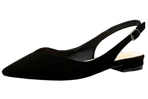 Chaussures Plates De Pointu Femme Suède Boucle Slingback Noir Sandales Bigtree pq8nCFw