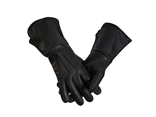 [Leather Gauntlet Gloves Long Arm Cuff (Large, BLACK)] (Medieval Gloves)