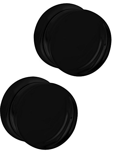 (Set of 5/8 Inch Black Acrylic Ear Gauges, 16mm Solid Double Flared Saddle Plug Earrings)