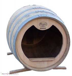 """Oak Wine Barrel Dog House With Stand 30"""" H x 37"""" D By Wine Barrel Creations Inc"""