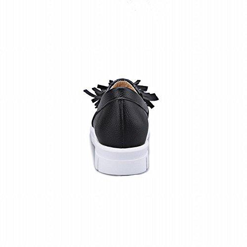 Womens Black Fashion Flats Show Shoes Show Tassels Bungee Shine Shine wqWPSz1tq