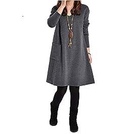 Romacci Autumn Winter Women Dress Plus Size Loose Tunic Long Dress Long Sleeves Pockets Solid V Neck Swing Dress for Ladies