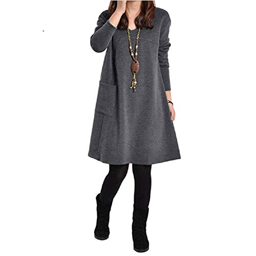 Romacci Women Long Sleeve Dress Plus Size Pockets Knee Length Loose Tunic Dress from Romacci