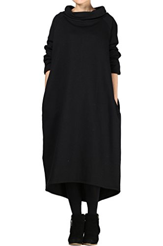 Mordenmiss Women's New Solid Long Sweatshirt with Hood Style2 Black