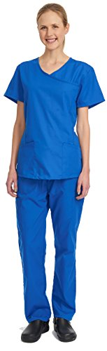 Denice Womens Scrub Sets / Mock Wrap / Multiple Pockets / Medical Uniforms 944 (3X-Large, Royal) (Scrub Sets Plus Size Women)