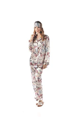 momomio Satin Pajamas for Women Long Sleeve Button Down Womens Pajama Sets Loungewear Sleepwear Gift Eye Mask Included (S, Gold Floral) ()