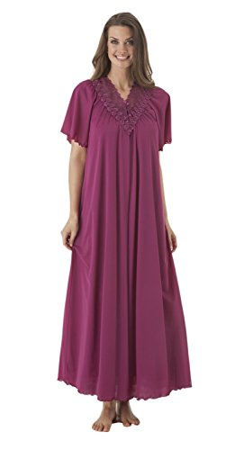 Shadowline Women's Beloved 54 inch Flutter Sleeve Long Peignoir Robe, Magenta, Small