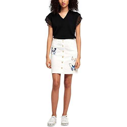 DKNY Womens Embroidered Butterfly Denim Skirt White - Embroidered Butterfly Skirt