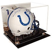 Deluxe Acrylic Football Helmet Display Case with Mirror Back - Back Display Case