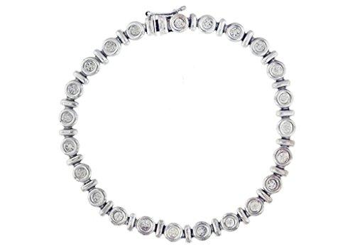 """Or blanc 9carats Diamant Cercle et Bar Bracelet 18cm/7"""""""