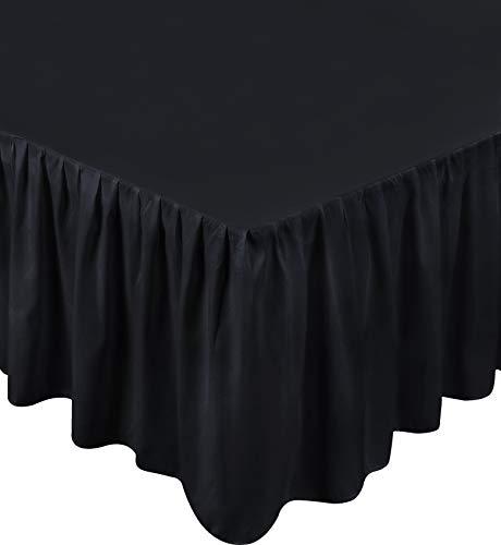 Utopia Bedding Black Microfiber Queen Size 15-Inch Drop Ruff