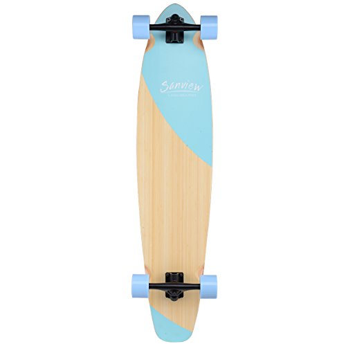 SANVIEW Bamboo Longboard Skateboards Cruiser (Light Blue Fishtail)