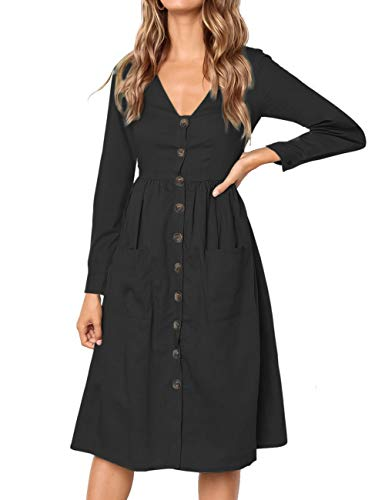 608b0bf453 MEROKEETY Women s Summer Short Sleeve V Neck Button Down Swing Midi Dress  with Pockets. Tap to expand