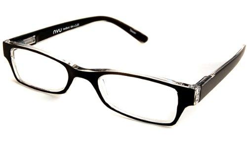nvu eyewear reading glasses bedford black and clear