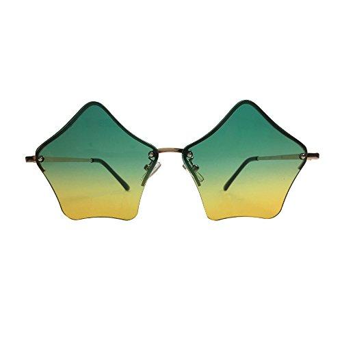 YUHOO 2018 Modern Women's Men's Metal Frame Mirror Flat Lens Star Sunglasses - - Sunglasses 2018 Mirror