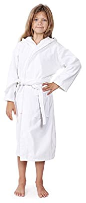 Indulge Linen Kids Terry Velour Bathrobe For Girls and Boys, Hooded, 100% Cotton, Made In Turkey