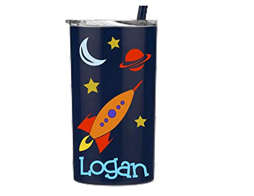 (Personalized Rocketship, Spaceship Kids Cup, Stainless Steel Insulated Travelers Mugs)