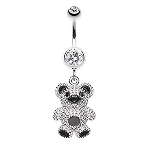 Inspiration Dezigns Belly Button Navel Curved Barbell Ring Adorable Teddy Bear Surgical Steel 14G (Clear)