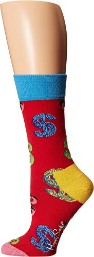 Andy Warhol Dollar Sock Red Women's Shoe Size 9-11 ()