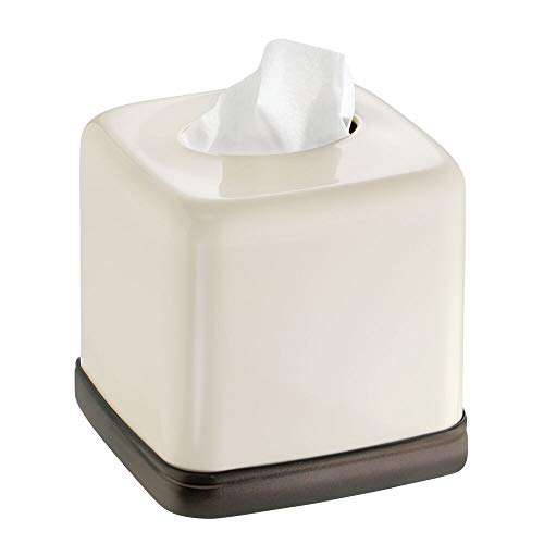 mDesign Square Metal Paper Facial Tissue Box Cover Holder for Bathroom Vanity Countertops, Bedroom Dressers, Night Stands, Home Office Desks, Tables - Vanilla Cream/Bronze