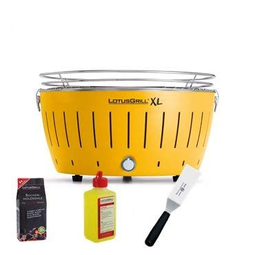 Lotusgrill LOTUGRILL XL Special Kit 2015 by YesEatIs - Smokeless Charcoal BBQ + 1Kg of Charcoal + 1 Safety Fuel Gel + 1 Grill Spatula - YELLOW XL