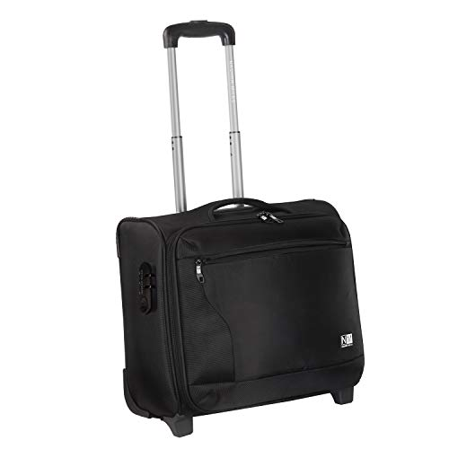 Nasher Miles Wall Street 2 Wheel Polyester 39 Liters Black Soft Sided Laptop Roller Case   838