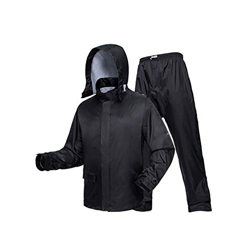 Goquik Outdoor Raincoat Men's Split Raincoat Set Fashion Full Body Waterproof Suit (Color : Color Crystal Black, Size : XXL)