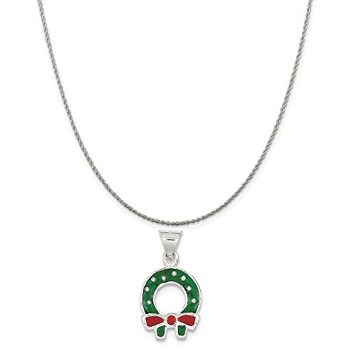 Enameled Christmas Wreath (Sterling Silver Enameled Christmas Wreath Charm on a Sterling Silver Rope Chain Necklace, 16