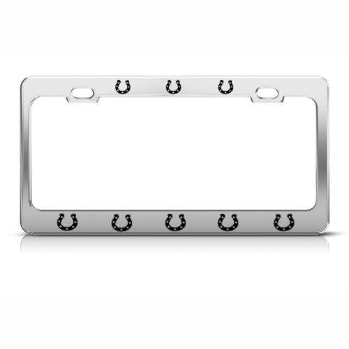 amazoncom horseshoes horse horses license plate frame stainless metal tag holder automotive