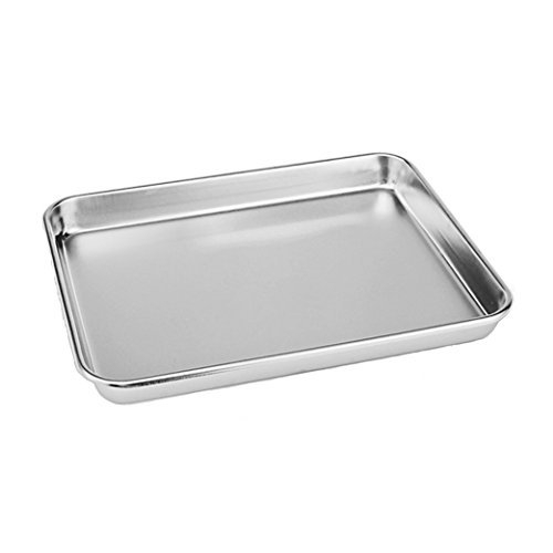 Neeshow Stainless Steel Compact Toaster Oven Pan Tray Ovenware Professional, 12''x10''x1'', Heavy Duty & Healthy, Deep Edge, Superior Mirror Finish, Dishwasher Safe yooshome