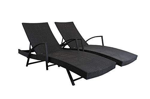 (Outdoor Patio Synthetic Backyard Poolside Garden Rattan Wicker Chaise Lounge Chair Set Adjustable with Armrest (Set of Two, Black))