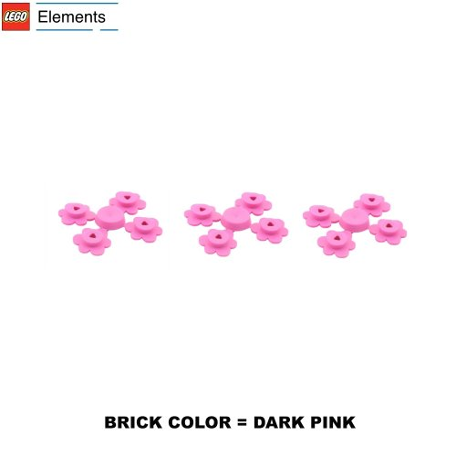 Lego Parts: Plant Flower Small, Sprue of Four (PACK of 3 Dark Pink Flower Sprues)