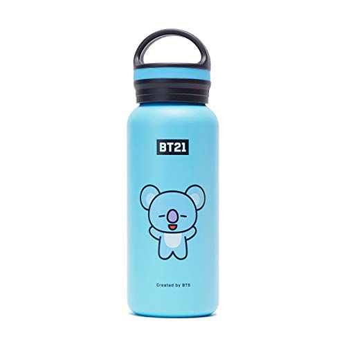 BT21 Official Merchandise by Line Friends - KOYA Vacuum Drinking Tumbler Cup with Lid 16 oz, Sky Blue
