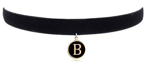 """Cozylife 3/8"""" Girls Black Velvet Choker Necklace with 26 Letter Pendant (B)"""