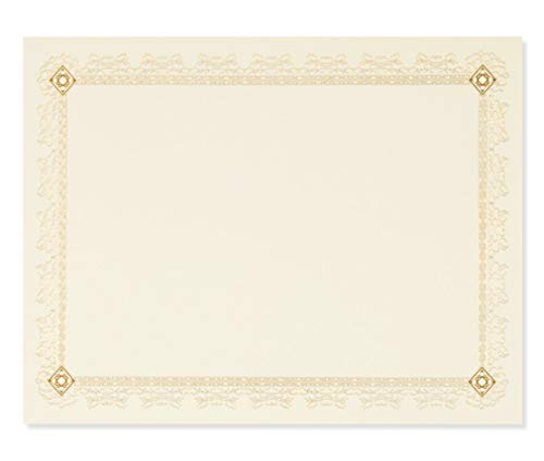 Best Paper Greetings Certificate Paper with Gold Foil Leaf Borders - 48 Pack - Blank Printer Friendly Letter Size Gold, 8.5 x 11 Inches
