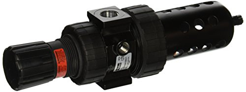 Parker 07E32A13AC1  One Piece Filter/Regulator, 1/2'' BSPP, Polycarbonate with Metal Bowl Guard, Twist Drain, 40 micron, 90 scfm, Relieving Type, 2-125 psig Pressure Range, without Gauge by Parker Hannifin