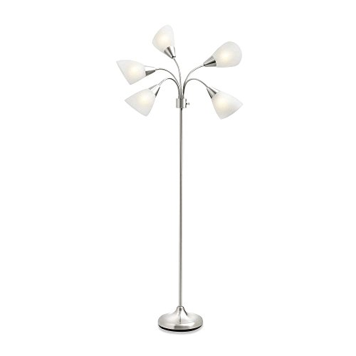 Studio 3B 5-Light Floor Lamp-Silver with CFL Bulbs